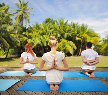 group of people making yoga exercises outdoors Stock Photo