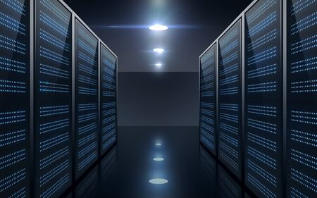 database, computing and technology concept - futuristic server room