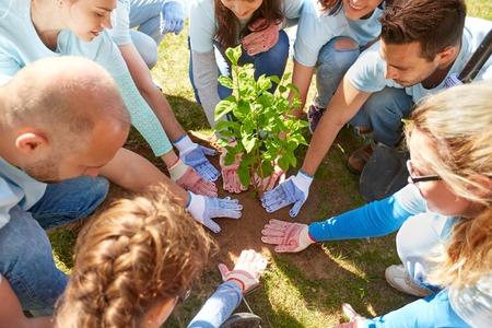 ボランティア、慈善団体、人々、エコロジー コンセプト - 公園の木を植えること幸せなボランティアのグループ