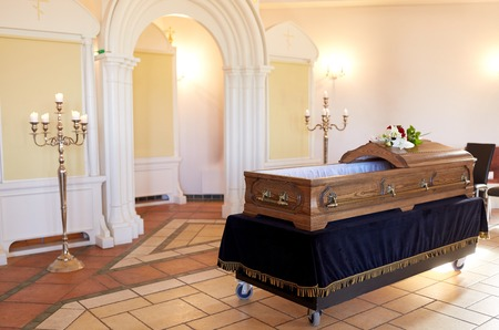 wooden coffin at funeral in orthodox church