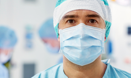 surgeon in operating room at hospital Banco de Imagens