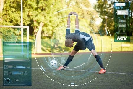 soccer player stretching leg on field football Reklamní fotografie - 81458906