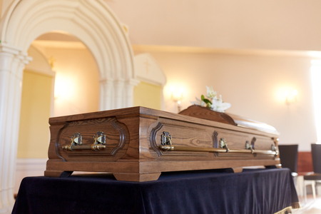 coffin at funeral in orthodox church Stock Photo