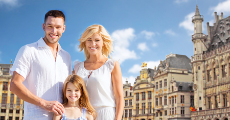 the grand daughter: happy family over grand place in brussels city Stock Photo