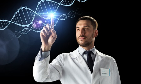 doctor or scientist in white coat with dna Stock Photo
