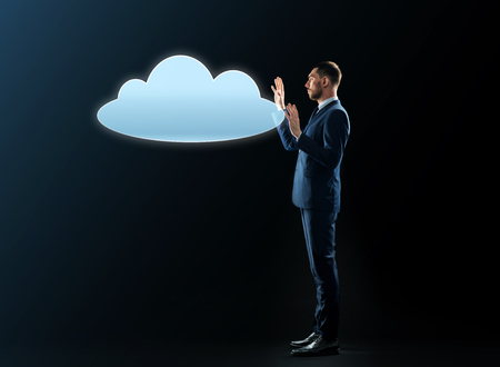 businessman with cloud projection