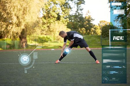 soccer player stretching leg on field football