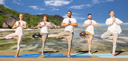 Les gens qui font du yoga dans l'arbre posent sur des tapis à l'extérieur