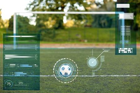 soccer ball and goal on football field 版權商用圖片 - 81770290