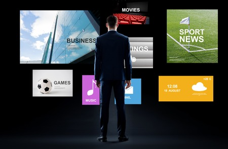 businessman with virtual applications