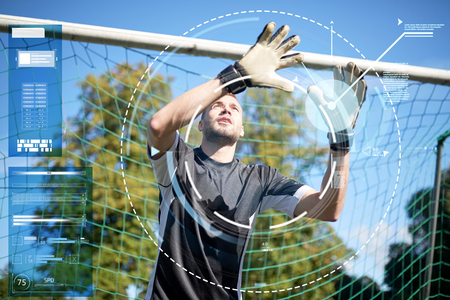 goalkeeper or soccer player at football goal Reklamní fotografie - 81769405