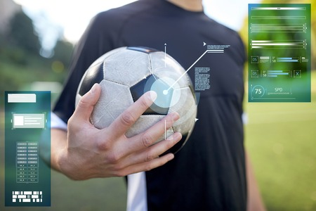 close up of soccer player with football on field Stok Fotoğraf