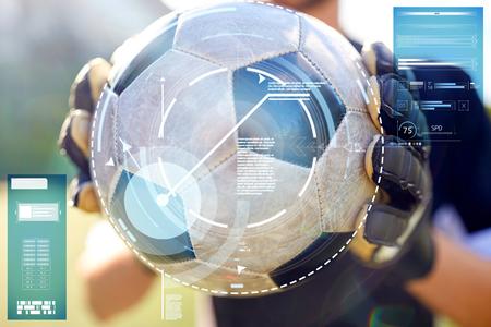 Close-up van doelman met bal voetbal spelen