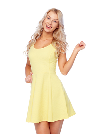 happy smiling beautiful young woman in dress Stock fotó