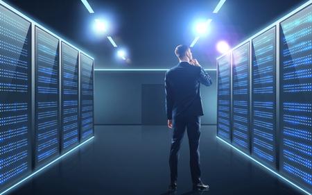businessman over server room background Stock fotó