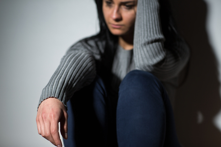 people, grief and domestic violence concept - unhappy crying woman Stock Photo