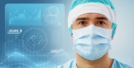 surgeon in operating room at hospital Stock Photo