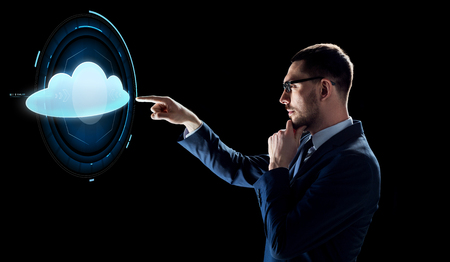 businessman over black with cloud projection Stock fotó
