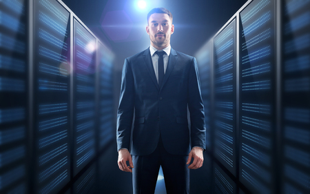 businessman over server room background Stock fotó