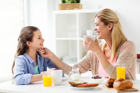 happy family having breakfast at home kitchen 写真素材
