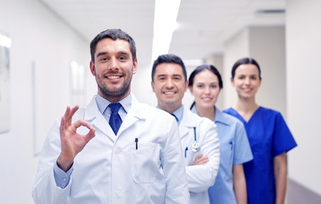 group of happy medics or doctors at hospital Stock Photo