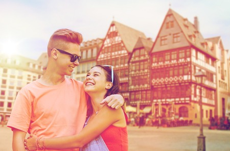 happy teenage coupler in frankfurt city