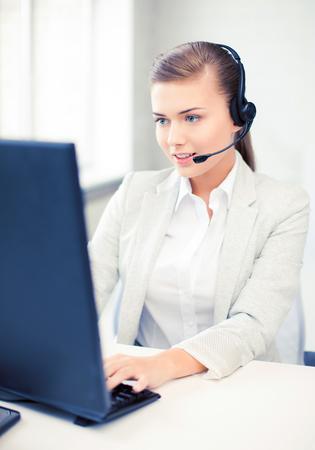 customer service representative: friendly female helpline operator