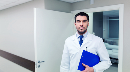 doctor with clipboard at hospital Stock Photo