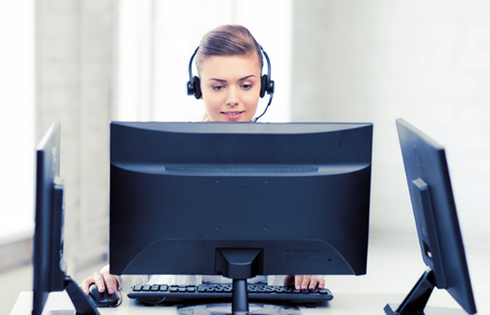 friendly female helpline operator photo