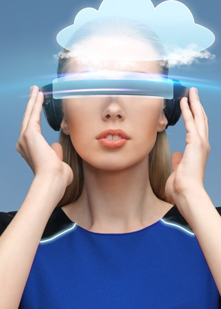 woman in virtual reality 3d glasses with cloud photo