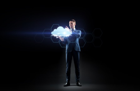 businessman working with virtual cloud hologram Stock fotó