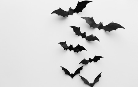 halloween, decoration and scary concept - black bats flying over white background Фото со стока
