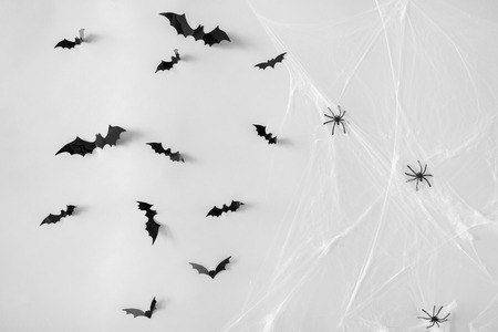 halloween, decoration and scary concept - black flying bats and spiders on web over white background