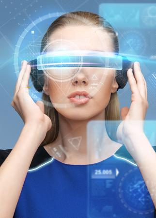 가상 현실에서 여자 3d 안경 화면