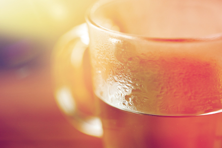 drink concept - close up of glass with hot water Stock Photo