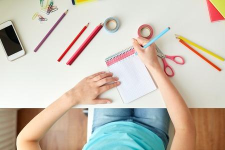 사람, 창의성과 예술 개념 - 집 그리기 소녀