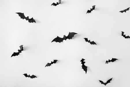 halloween decoration of bats over white background Фото со стока