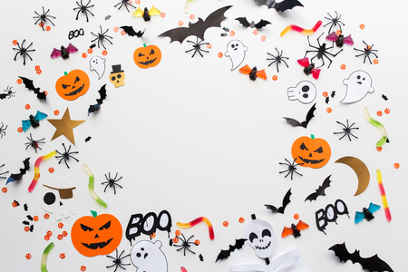 halloween party paper decorations and sweets