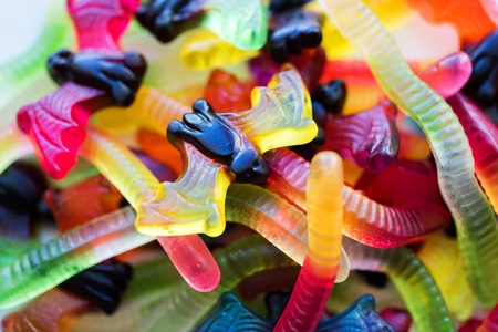 Gummy worms and bet candies for halloween party Stock Photo