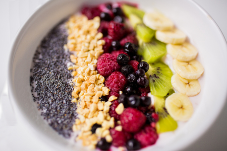 bowl of yogurt with fruits and seeds