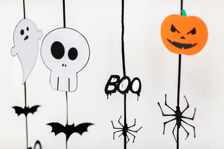 halloween party paper garlands or decorations Stock Photo