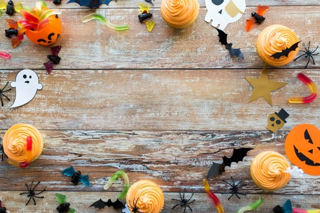 halloween party paper decorations and treats Stock Photo