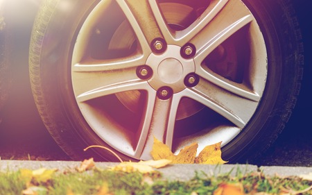 close up of car wheel and autumn leaves