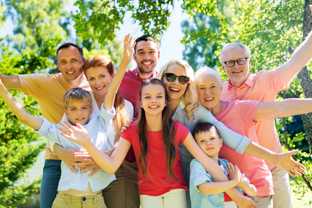 happy family portrait in summer garden Stock Photo