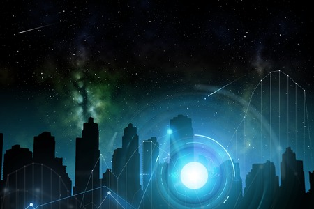 city of future over space and holograms