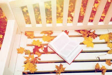 가을 공원 벤치에 책을 엽니 다