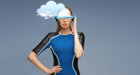 woman in virtual reality 3d glasses with cloud