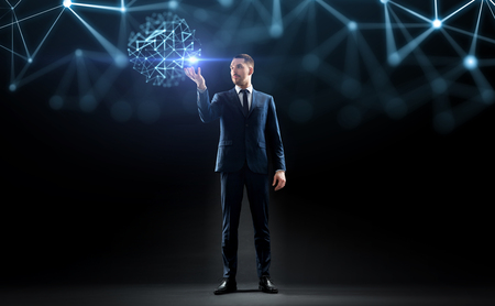 businessman with virtual low poly projection