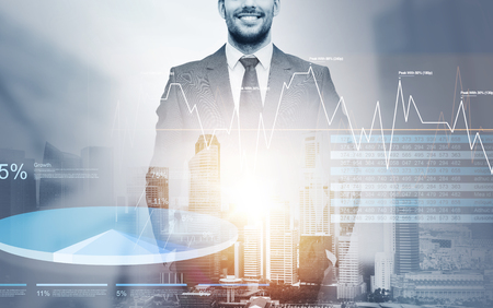 close up of happy businessman over city background