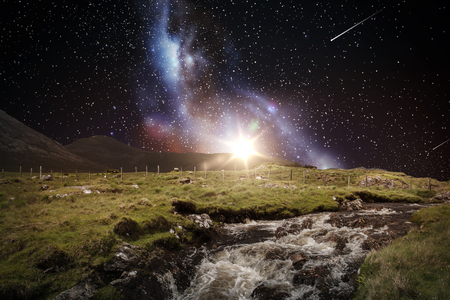 landscape over space and galaxy in night sky Stok Fotoğraf